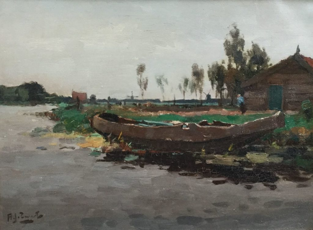 Schilderijen te koop van kunstschilder A.J. Zwart Nieuwkoopseplassen olie op doek, 30.5 x 41 cm linksonder gesigneerd, Expositie Galerie Wijdemeren Breukeleveen