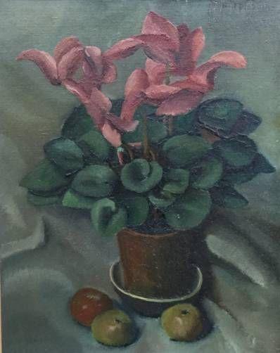 schilderijen te koop van kunstschilder, Bert Blokhuis Stilleven met plant en appels Olie op doek, doekmaat 50.5 x 40.5 cm rechtsboven gesigneerd, gedateerd 44 expositie, galerie wijdemeren breukeleveen
