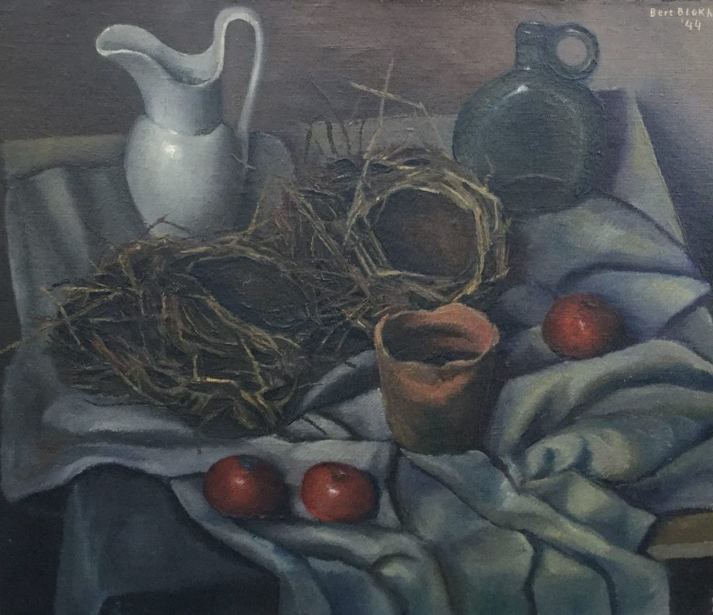 Schilderijen te koop van kunstschilder Bert Blokhuis Stilleven met kannen, nestjes en tomaten olie op doek, 60.5 x 70 cm rechtsboven gesigneerd en gedateerd 44, Expositie Galerie Wijdemeren Breukeleveen