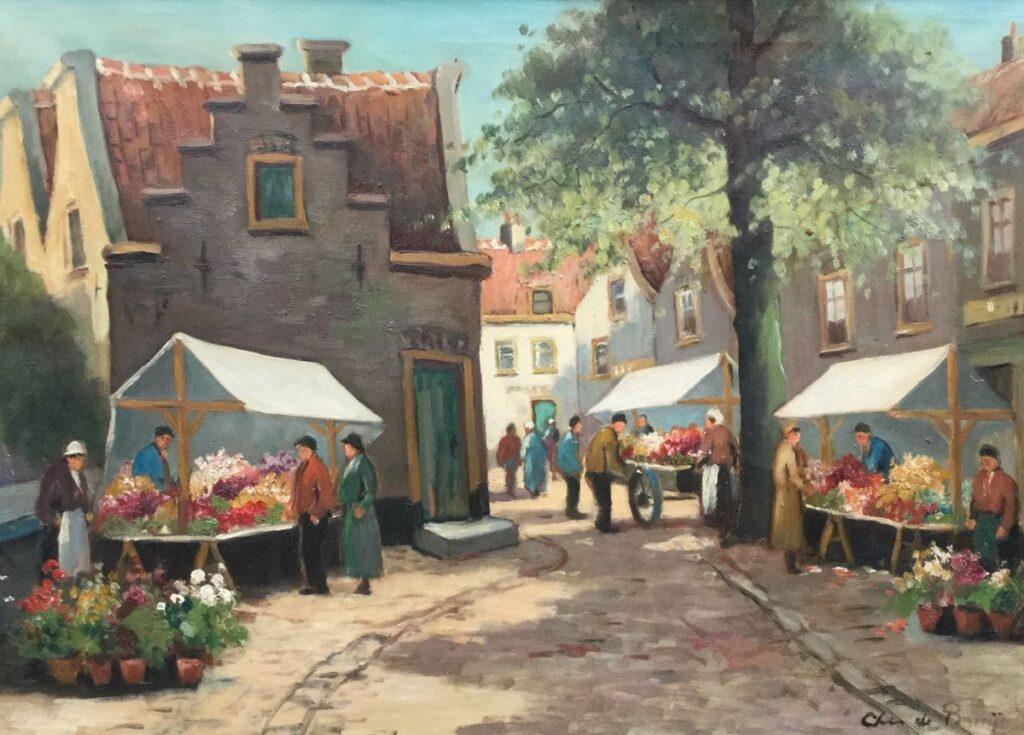Schilderijen te koop van kunstschilder Cornelis de Bruin, Bloemenmarkt olie op doek 50.5 cm x 70 cm r.o. gesigneerd, Expositie Galerie Wijdemeren Breukeleveen