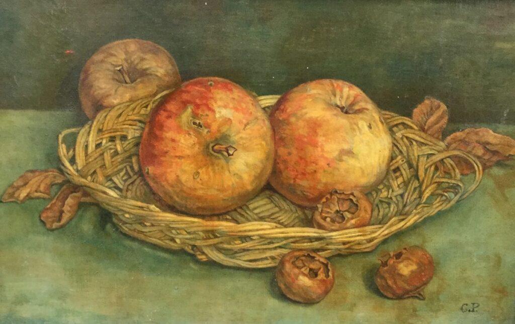 Schilderijen te koop van kunstschilder Corrie Pabst stilleven met appels en mispels olieverf op doek, doekmaat 21,5 cm x 33,5 cm rechstonder gemonogrammeerd C.P., Expositie Galerie Wijdemeren Breukeleveen