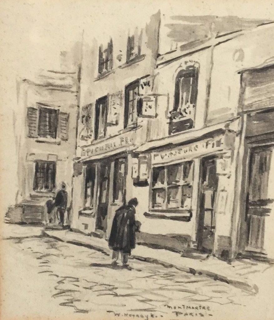 Schilderijen te koop van kunstschilder Willem Noordijk, inkt op papier, Monmartre Paris, mo gesig, beeldmaat 19x16, Expositie Galerie Wijdemeren Breukeleveen