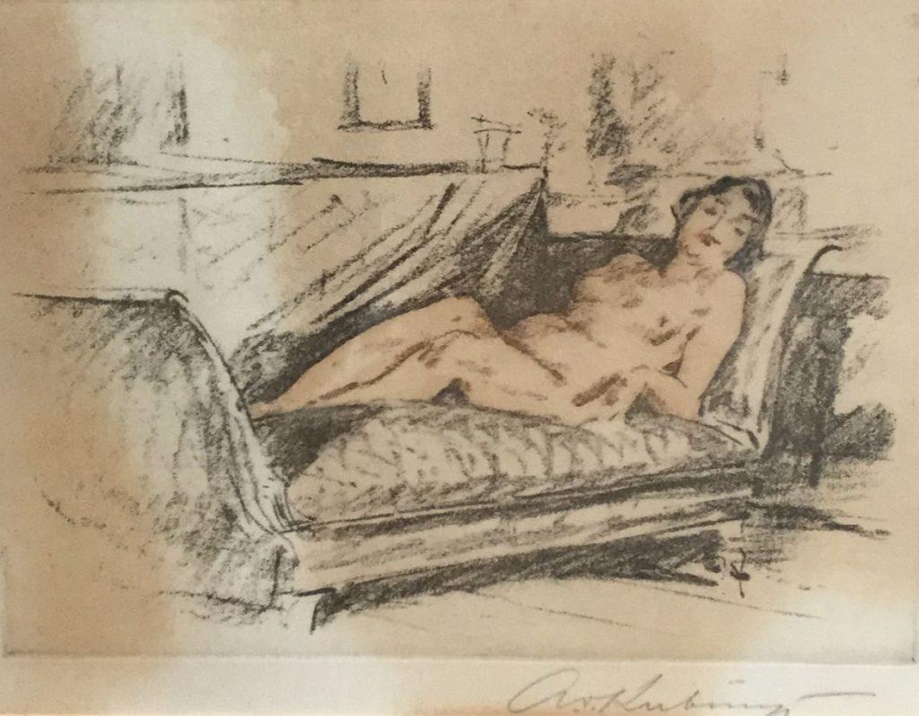 Schilderijen te koop, liggend naakt op sofa litho,beeldmaat 16 x 21 cm rechtsonder gesigneerd, Expositie Galerie Wijdemeren Breukeleveen