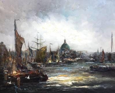 Schilderijen te koop van kunstschilder John Bevort Havengezicht Amsterdam olieverf op doek, 80 cm x 100 cm linksonder gesigneerd, Expositie Galerie Wijdemeren Breukeleveen