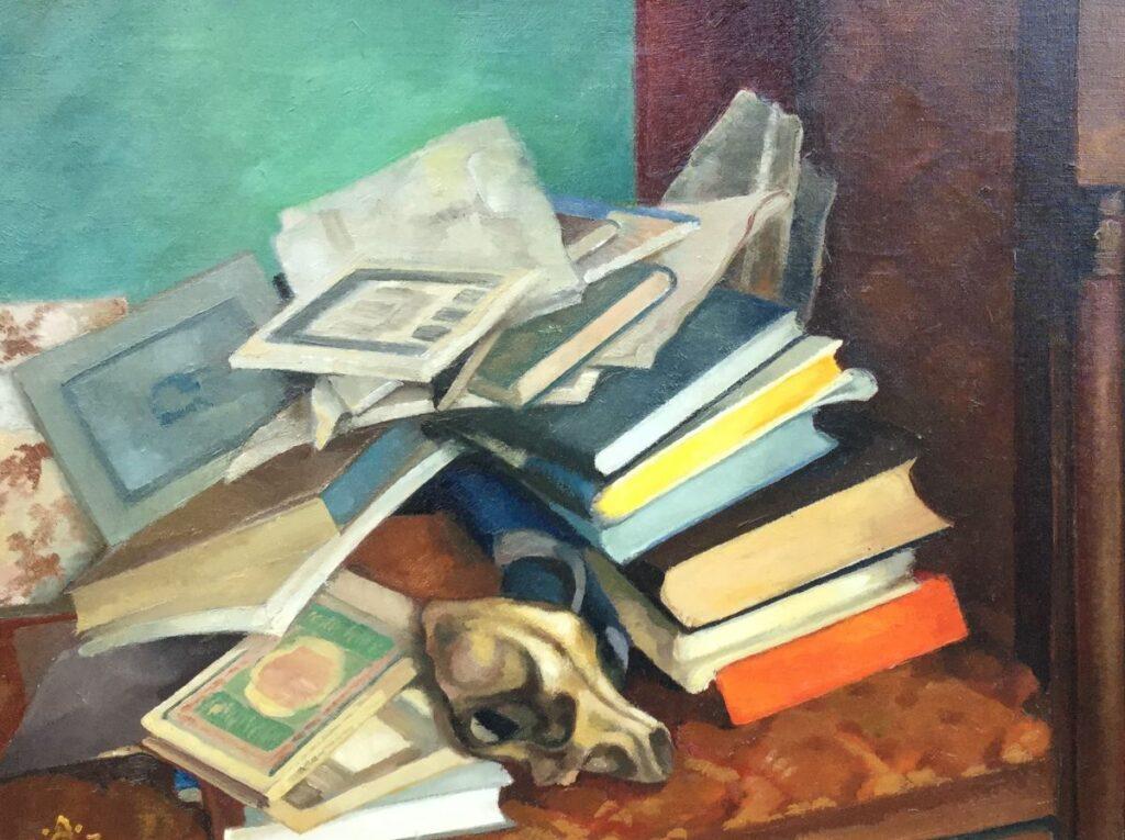 Schilderijen te koop van kunstschilder A.J. Grootens stilleven met boeken en schedel olieverf op doek, 50,5 x 65,5 cm linksonder gesigneerd, Expositie Galerie Wijdemeren Breukeleveen