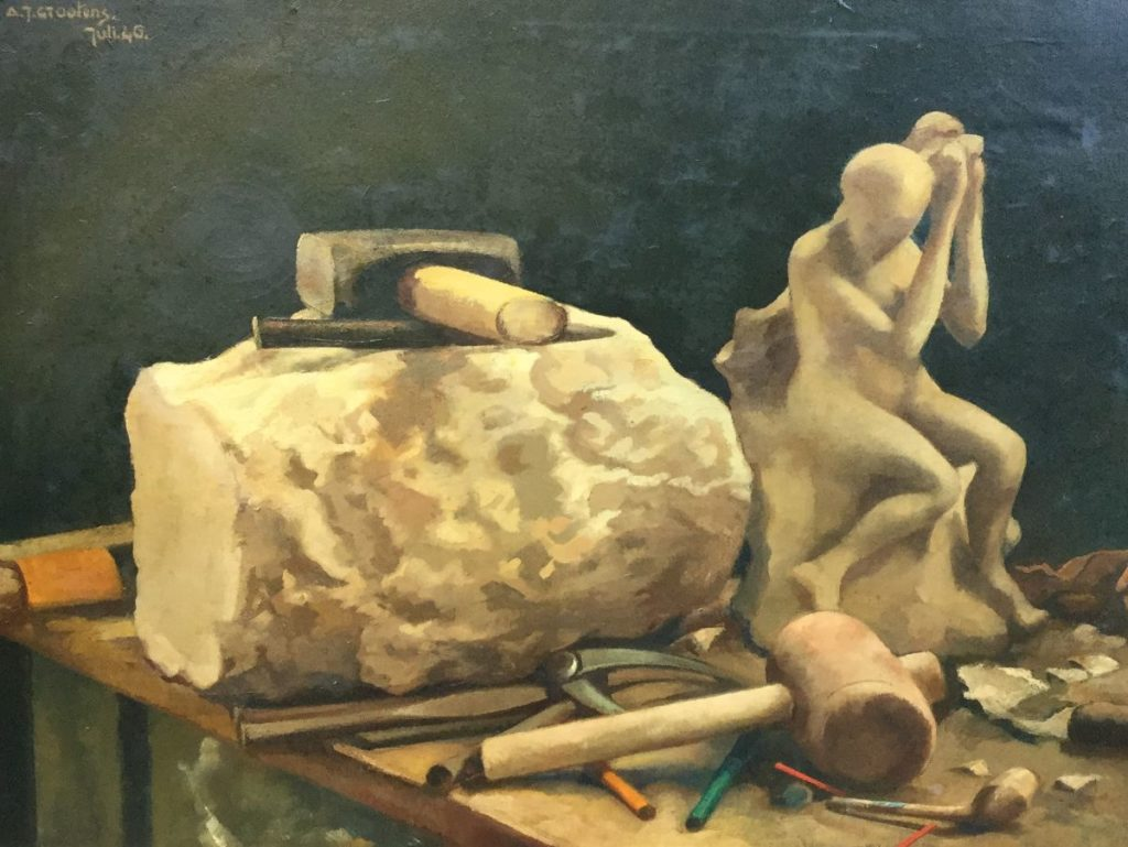 Schilderijen te koop van kunstschilder A.J. Grootens In het atelier van de beeldhouwer olie op doek, doekmaat 50 x 65,5 cm linksboven gesigneerd, gedateerd juli 46, Expositie Galerie Wijdemeren Breukeleveen