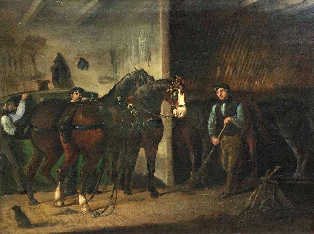 Schilderijen te koop, Hollandse School, 19de eeuw stalinterieur olie op paneel, paneelmaat 29 x 38 cm ongesigneerd, expositie Galerie Wijdemeren Breukeleveen