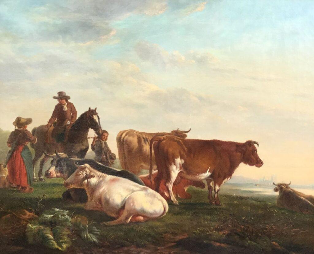 Kunstenaar Jacob van Strij C4400 Jacob van Strij Zicht op stad met koeien, paard en figuren olieverf op doek, 70 x 86 cm l.o. gesigneerd particuliere collectie