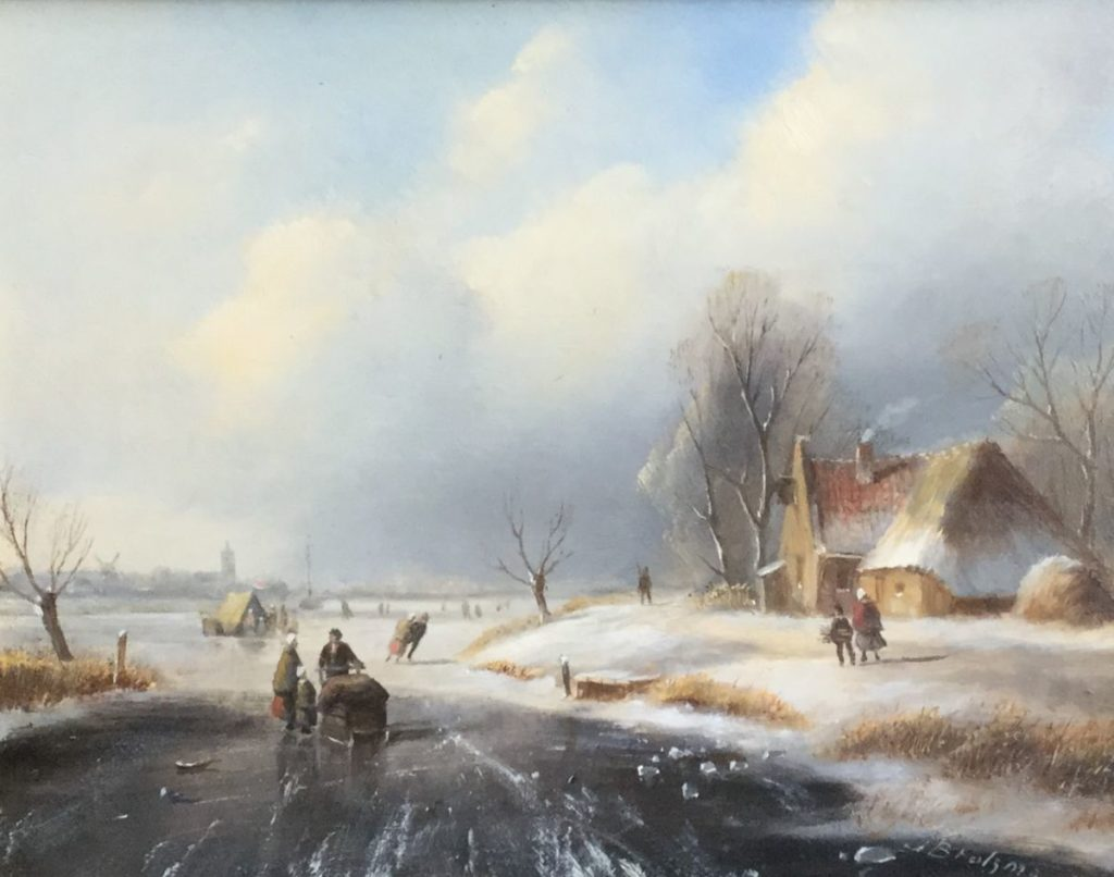 Schilderijen te koop van kunstschilder JJHB Brolsma wintergezicht gesigneerd, Expositie Galerie Wijdemeren Breukeleveen