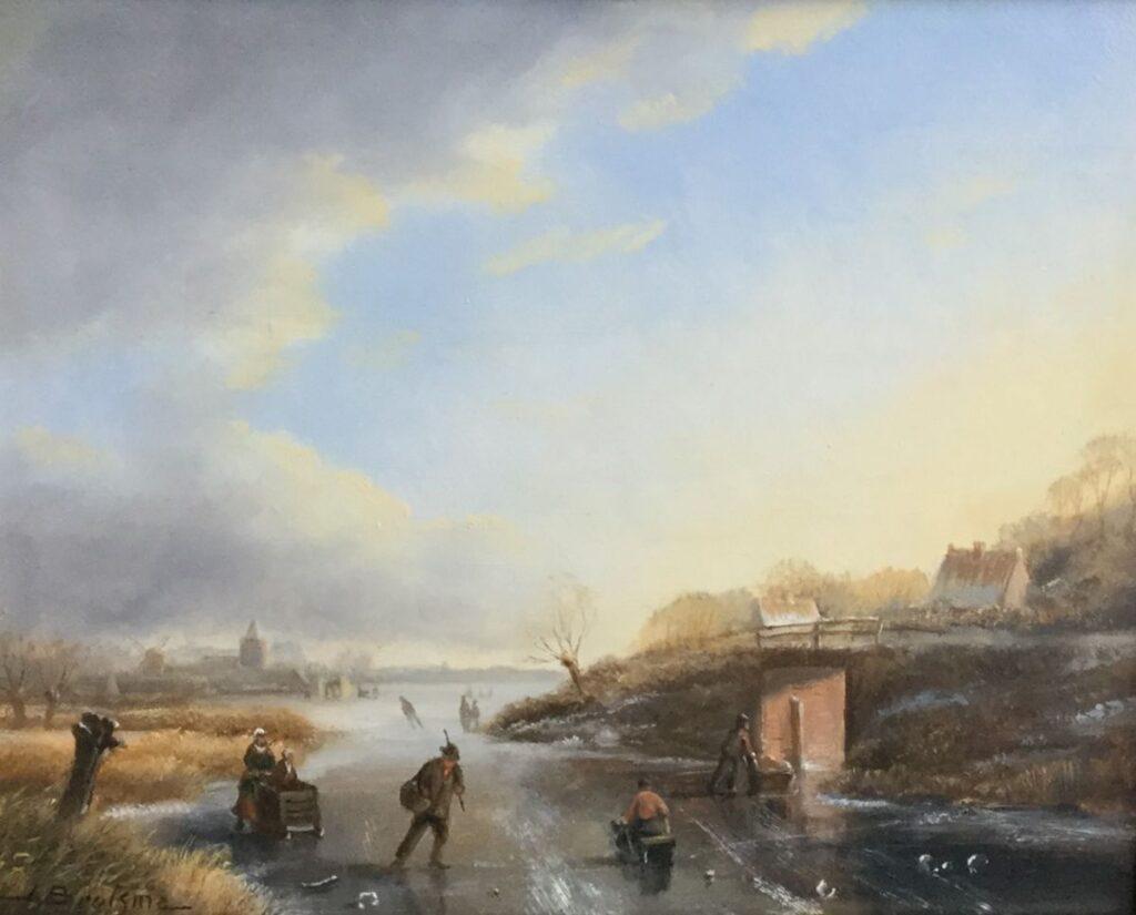 Schilderijen te koop van kunstschilder J.H. Brolsma Winterpret olie op paneel, paneelmaat 16 cm x 20 cm rechtsonder gesigneerd, Expositie Galerie Wijdemeren Breukeleveen