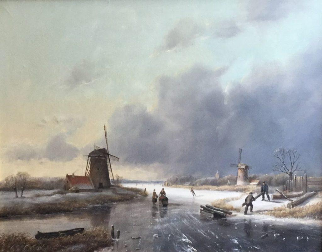 Schilderijen te koop van kunstschilder J.H. Brolsma Winterpret olie op doek, doekmaat 40,5 x 50 cm rechtsonder gesigneerd, Expositie Galerie Wijdemeren Breukeleveen