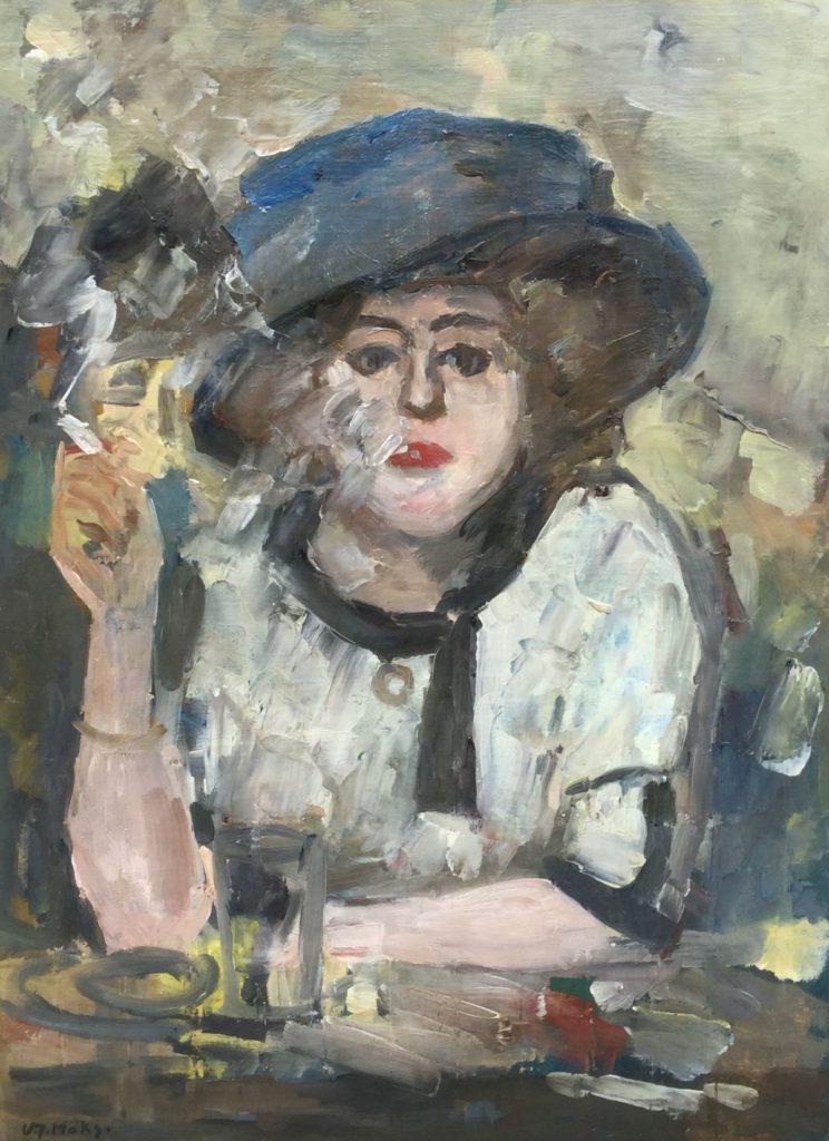 Schilderijen te koop van kunstschilder Kees Maks In 't nachtcafé olie op doek, 70 x 52 cm linksonder gesigneerd, Expositie Galerie Wijdemeren Breukeleveen