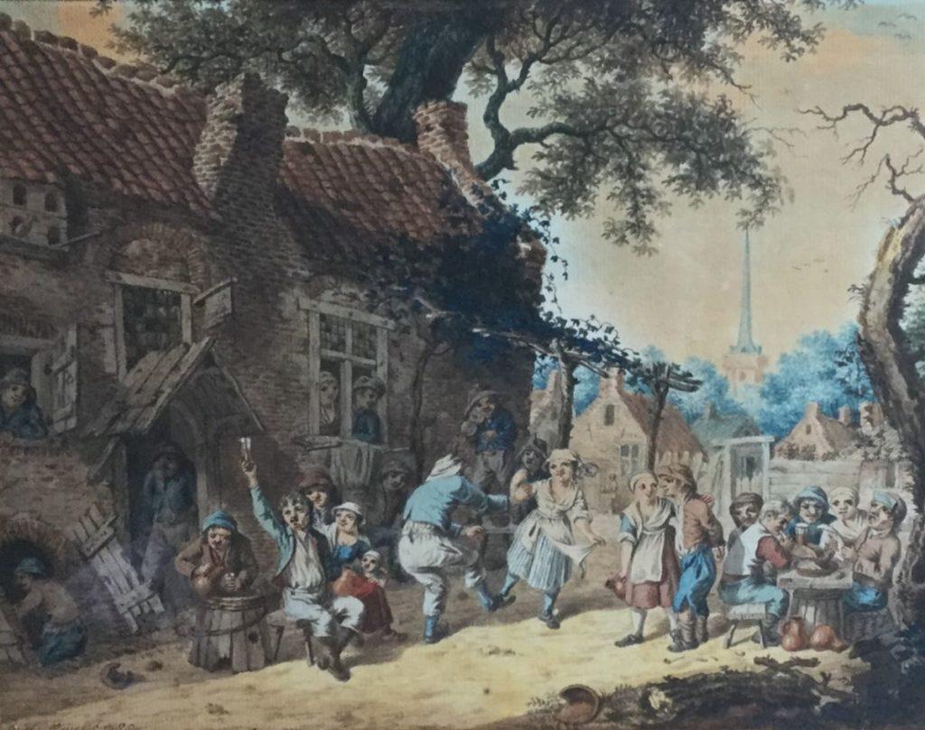 Kunstenaar Christiaan Wilhelm Meijer C4408 C.H. Meijer Dorpsfeest, 18de eeuw Aquarel, beeldmaat 22.5 x 29 cm linksonder gesigneerd en gedateerd 1785
