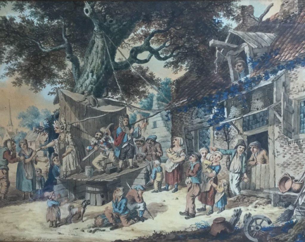 Kunstenaar Christiaan Wilhelm Meijer C4409 C.H. Meijer Dorpsfeest, 18de eeuw Aquarel, beeldmaat 22.5 x 29 cm linksonder gesigneerd en gedateerd 1785