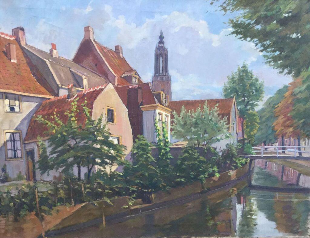 Kunstenaar Klaas Koster C4417-1, Klaas Koster 'Stadsgracht Amersfoort' Olieverf op doek, beeldmaat: 60 x 80 cm