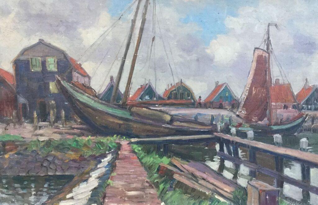 Kunstenaar Klaas Koster C4417-2, Klaas Koster Vissersboten in Zaanse Haven olieverf op doek, 62 x 40 cm r.o. gesigneerd en gedateerd 1918