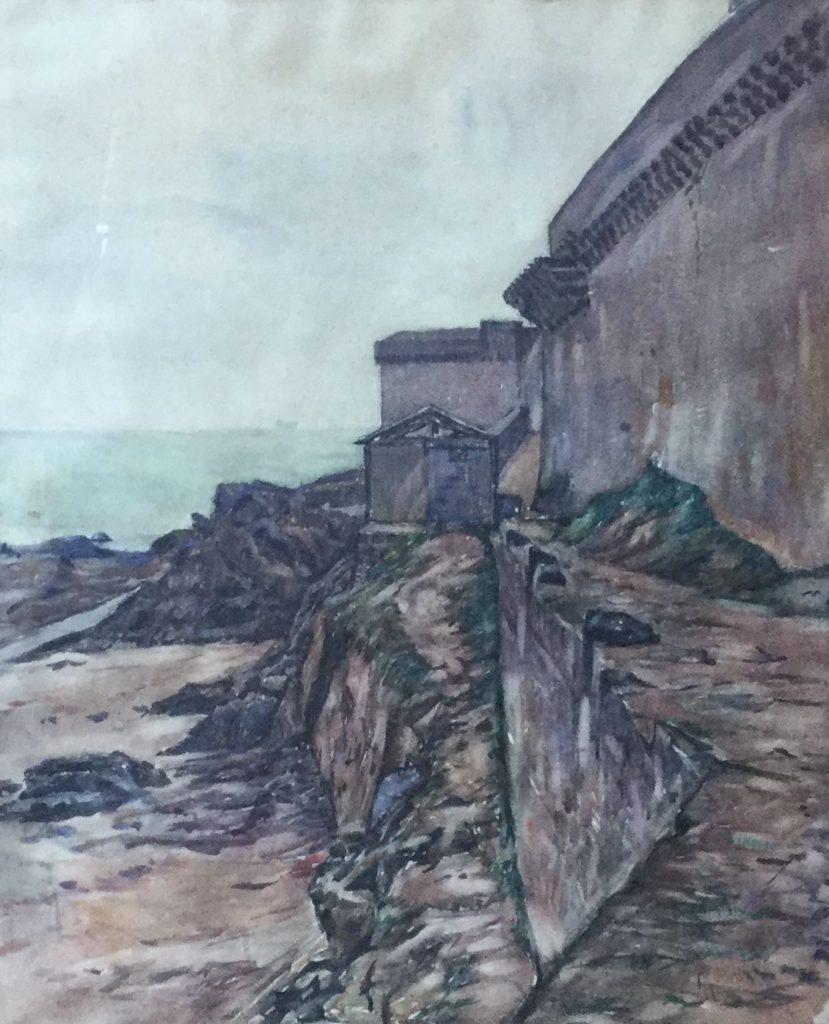 Kunst te koop bij Galerie Wijdemeren van kunstschilder Klaas Koster Rotskust met ommuring aquarel, 54 x 50 cm