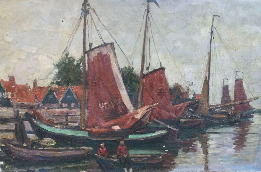 Kunst te koop bij Galerie Wijdemeren van kunstschilder Klaas Koster Vissersboten met zeil in de haven van Volendam olieverf op doek, 62 x 40 cm r.o. gesigneerd en gedateerd 1918