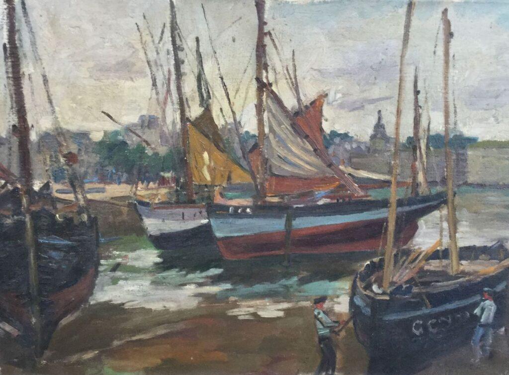 Kunstenaar Klaas Koster C4471-4, Klaas Koster Vissersboten Olieverf op doek, 45 x 33 cm ongesigneerd