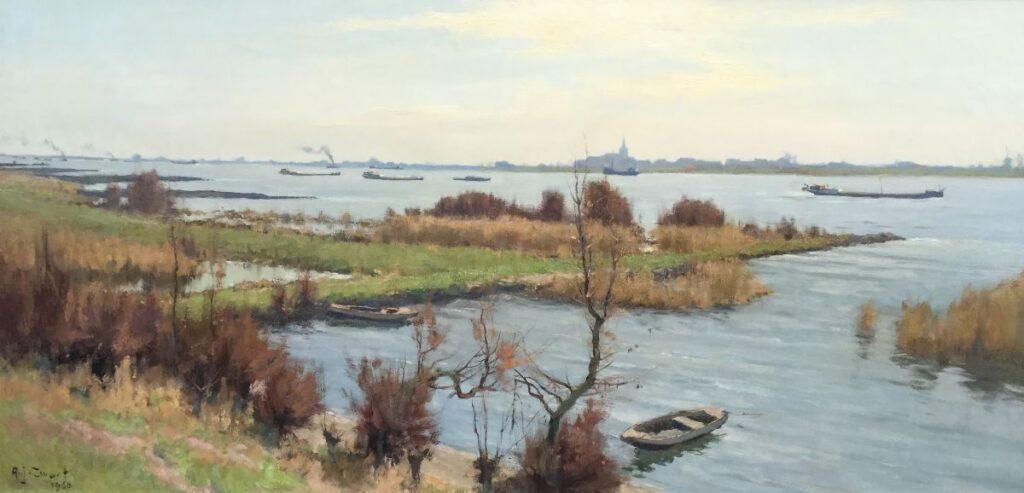 Kunstenaar Arie J. Zwart C4419, A.J. Zwart de waal bij Zuilichem olie op doek, 71 x 140,5 cm l.o. gesigneerd, gedateerd 1960 verkocht