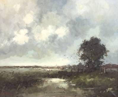 Schilderijen te koop van kunstschilder Rob de Haan landschap met koeien olieverf op doek 50,5 x 60,5 cm linksonder gesigneerd, Expositie Galerie Wijdemeren Breukeleveen