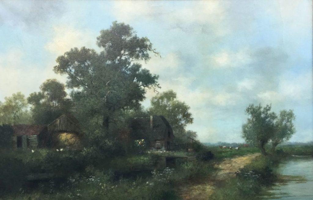 schilderijen te koop van kunstschilder, HJ Veger Alblasserdam Hoeksche waard olie op doek. doekmaat 60,5 x 90,5 cm linksonder gesigneerd, expositie, galerie wijdemeren breukeleveen