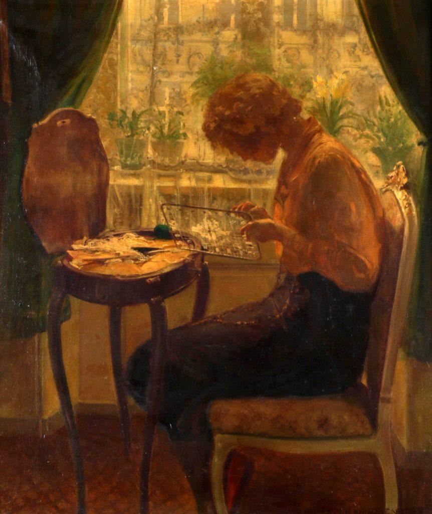 Kunstenaar Peder Knudsen C4421C Peder Knudsen Dame in interieur olieverf op doek, doekmaat 66,5 x 55,5 cm gesigneerd en gedateerd verkocht