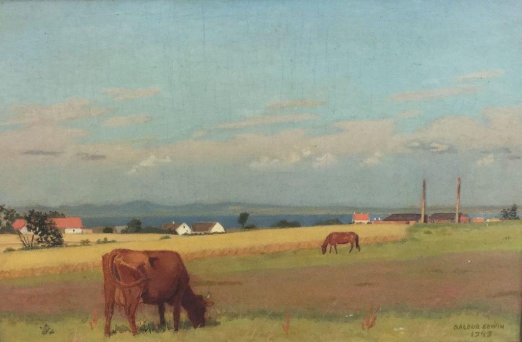 Kunst te koop bij Galerie Wijdemeren van Baldur Edwin Nielsen Koe en paard in landschap olie op paneel, 27.5 x 40.5 cm rechtsonder gesigneerd en gedateerd 1943