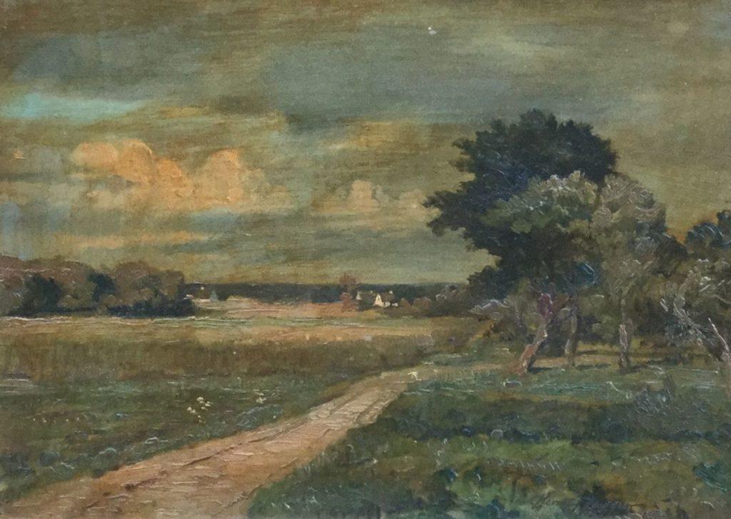 Kunst te koop bij Galerie Wijdemeren van Carlo Christoffer Hornung-Jensen Landschap met boerenweggetje olie op paneel, 24.5 x 33 cm rechtsonder gesigneerd, gedateerd 1927