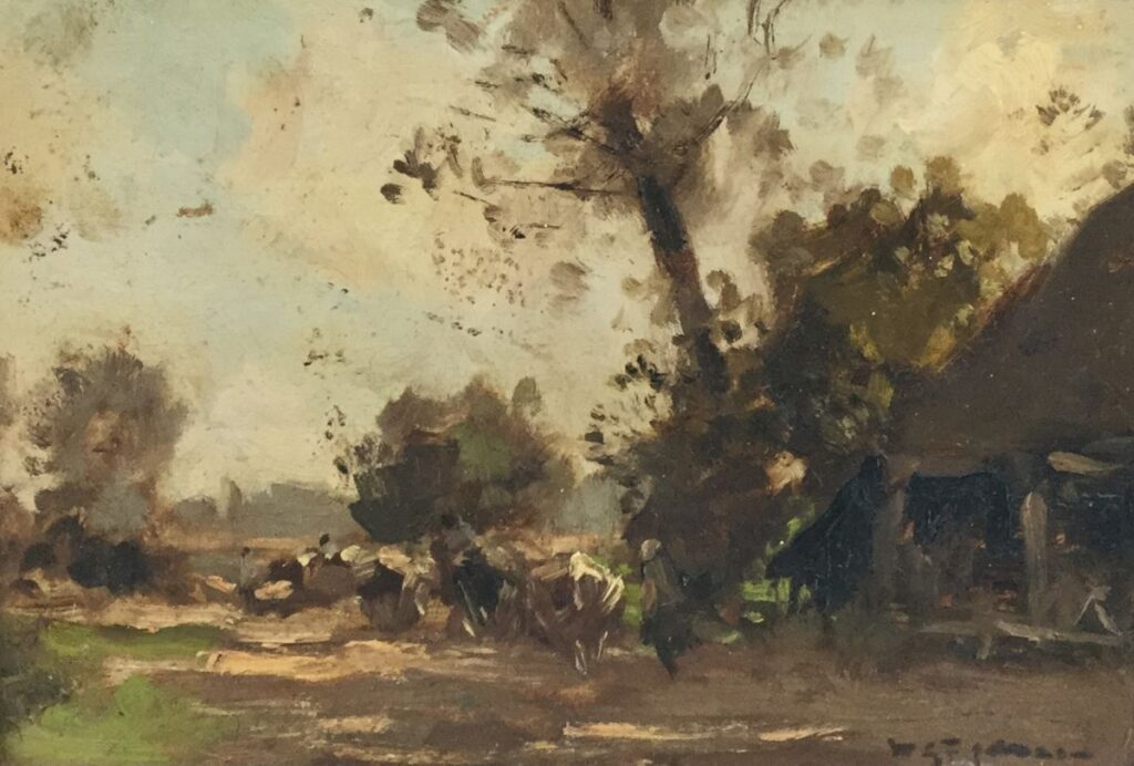 Schilderijen te koop van kunstschilder W.G.F. Jansen Boerin met vee olie op paneel, paneelmaat 15 x 21.5 cm rechtsonder gesigneerd, Expositie Galerie Wijdemeren Breukeleveen
