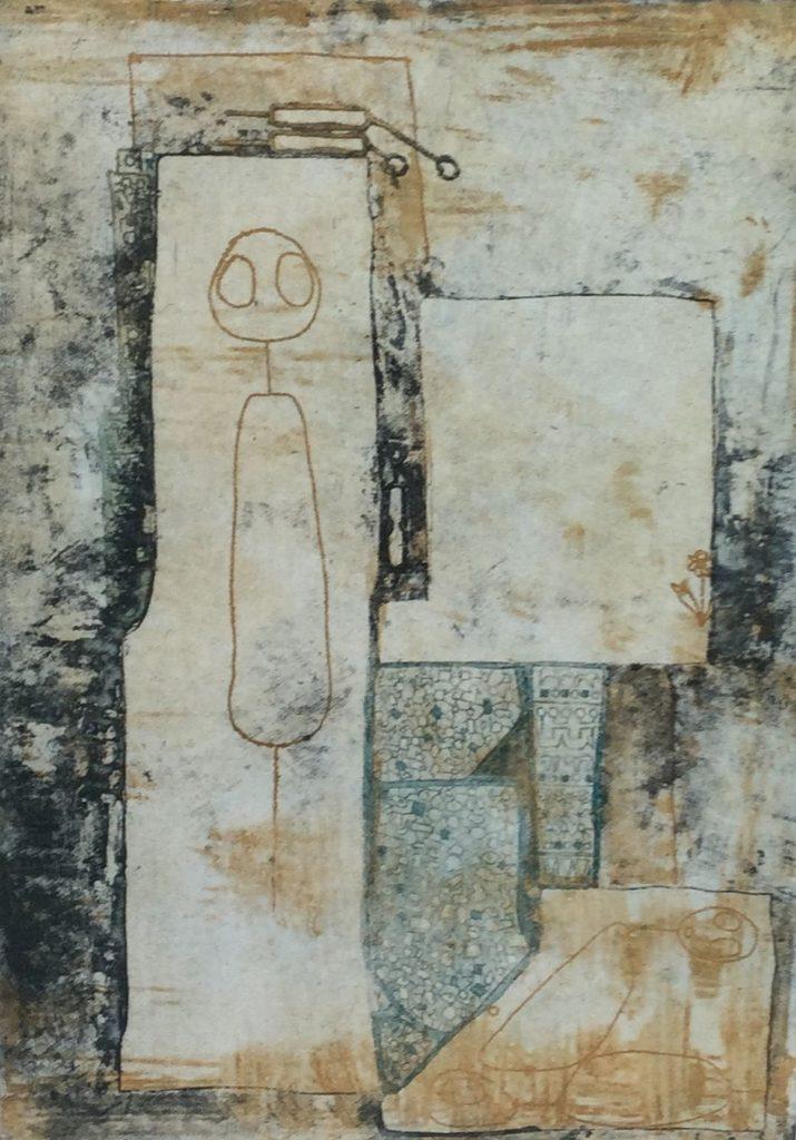 Kunst te koop bij Galerie Wijdemeren van graficus Hans Buining Eenzaam maar niet alleen kleurenets, oplage 7/20, beeldmaat 46.5 x 33 cm rechtsonder gesigneerd en gedateerd 1992