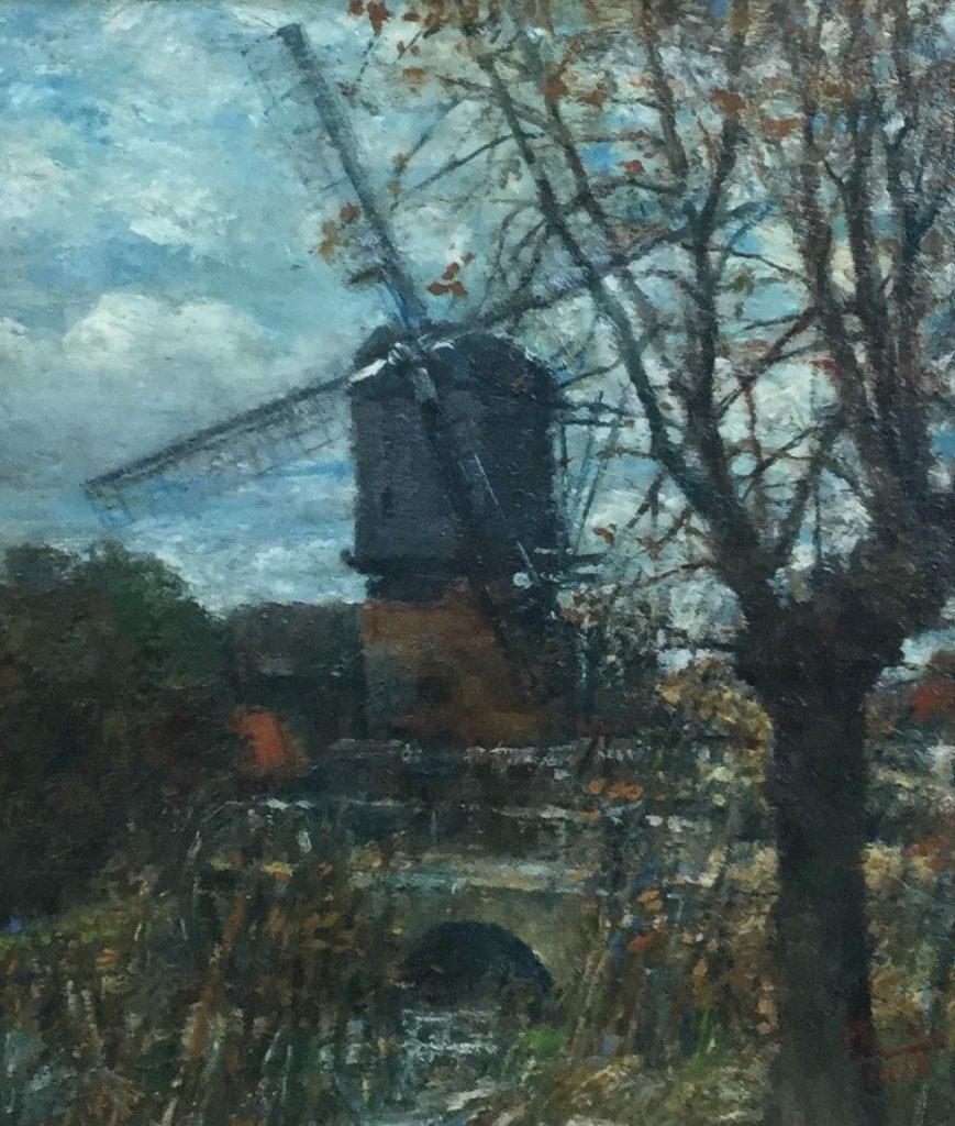 Schilderijen te koop van kunstschilder R.D. Wiegand-Meyer Watermolen olie op paneel, paneelmaat 20 x 18.5 cm rechtsonder gesigneerd en gedateerd 1968, Expositie Galerie Wijdemeren Breukeleveen