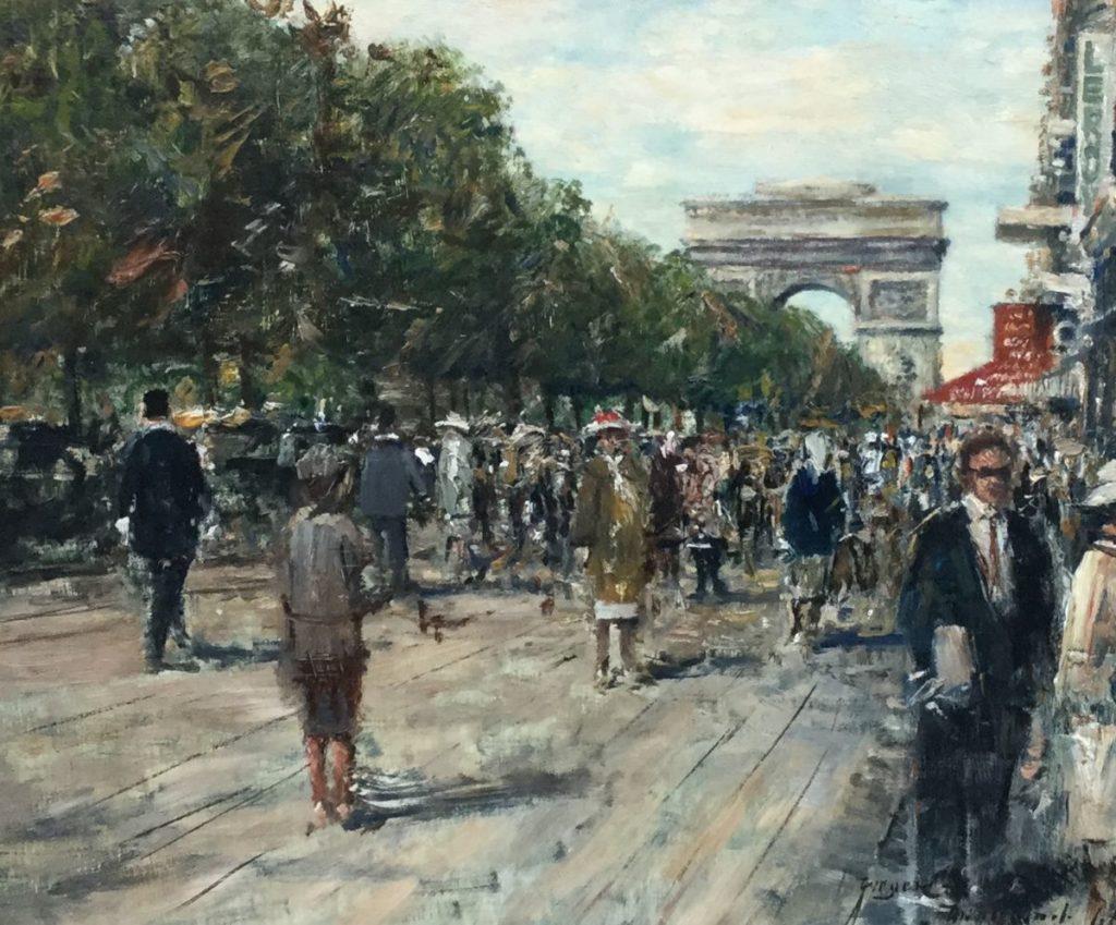 Schilderijen te koop van kunstschilder Rolf Dieter Meyer-Wiegand Zicht op de Arc de Triomphe olieverf op paneel, 25.5 x 31 cm r.o. gesigneerd, gedateerd 1968, Expositie Galerie Wijdemeren Breukeleveen