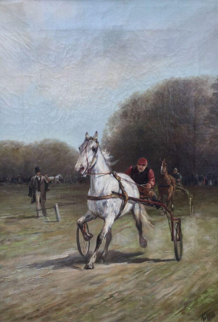 Schilderijen te koop van kunstschilder Klaas van Vliet Pikeur in sulky achter dravend paard olie op doek, doekmaat 65 cm x 45 cm r.o.gesigneerd, Expositie Galerie Wijdemeren Breukeleveen