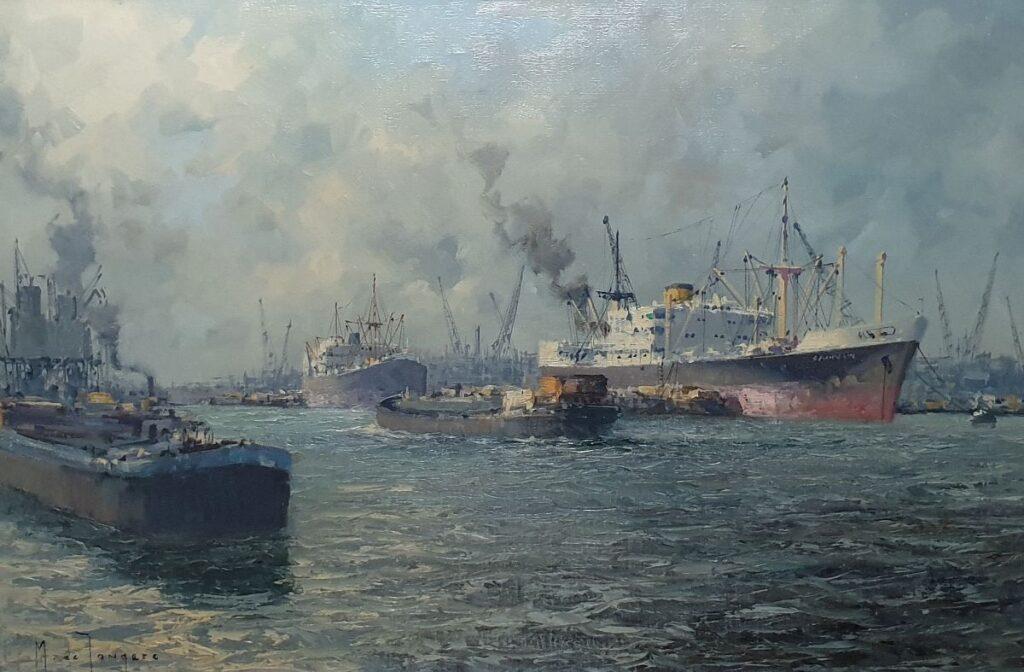 Schilderijen te koop van kunstschilder Marius de Jongere Rotterdamse haven olieverf op doek 40 x 60.5 cm l.o. gesigneerd, Expositie Galerie Wijdemeren Breukeleveen