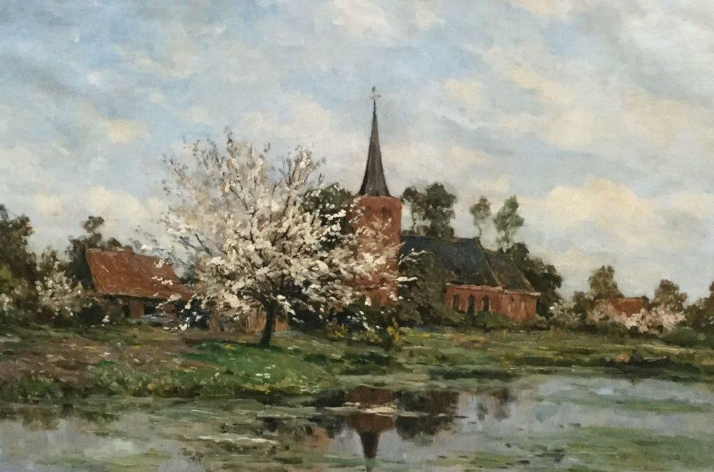 Schilderijen te koop van kunstschilder ERD Schaap gezicht op kerkje te Ankeveen over de plas gezien met bloesemboom op voorgrond olie op doek, doekmaat 49 x 71 cm rechtsonder gesigneerd, Expositie Galerie Wijdemeren Breukeleveen