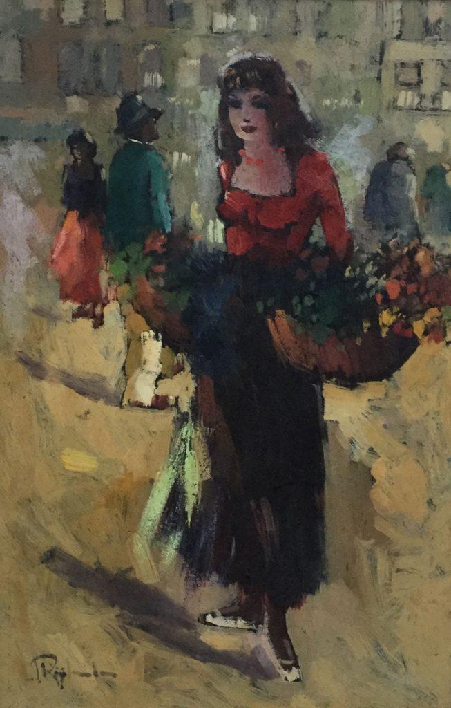 Schilderijen te koop van kunstschilder Rijlaarsdam Bloemenmeisje olie op doek, 61.5 x 40.5 cm linksonder gesigneerd, Expositie Galerie Wijdemeren Breukeleveen