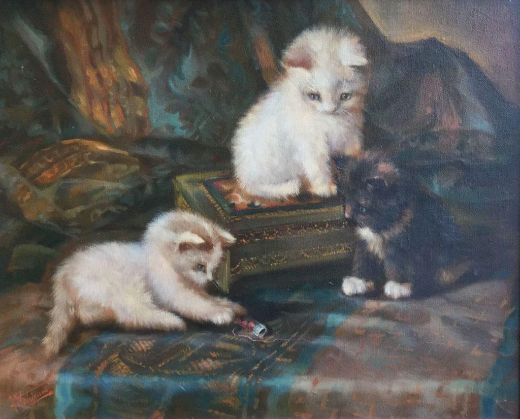 Kunst te koop bij Galerie Wijdemeren door kunstschilder Wouter van Trirum Spelende kittens olie op doek, 40 x 50 cm linksonder gesigneerd