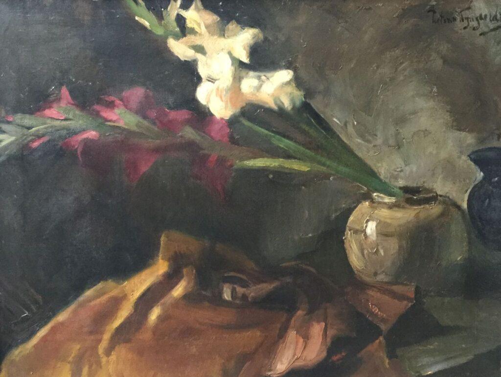 Kunstenaar Piet T. van Wijngaerdt C4457 Piet van Wijngaerdt Stilleven met Gladiolen Olie op doek, doekmaat 50,5 x 66,5 cm rechtsboven gesigneerd