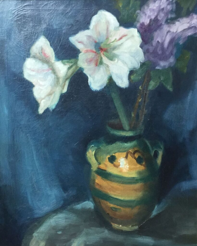 Kunstenaar Piet T. van Wijngaerdt C4458 Piet van Wijngaerdt bloemstilleven met Amaryllisen Olie op doek, doekmaat 75,5 x 60,5 cm ongesigneerd