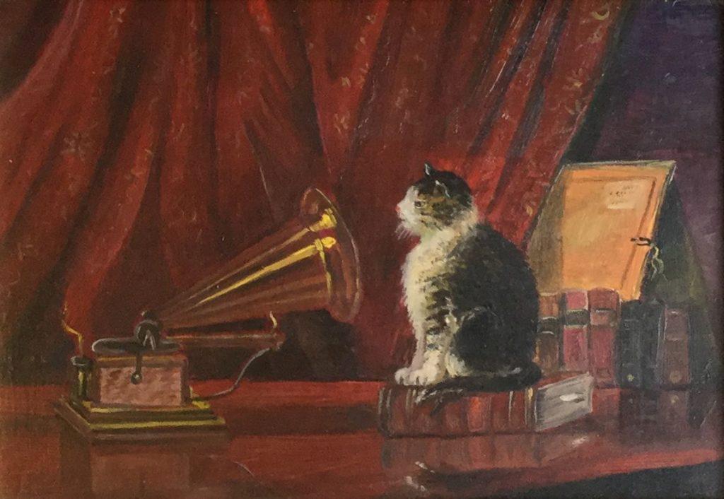 Schilderijen te koop van kunstschilderChristiaan Hoogmoed de poes luistert naar 'His masters voice