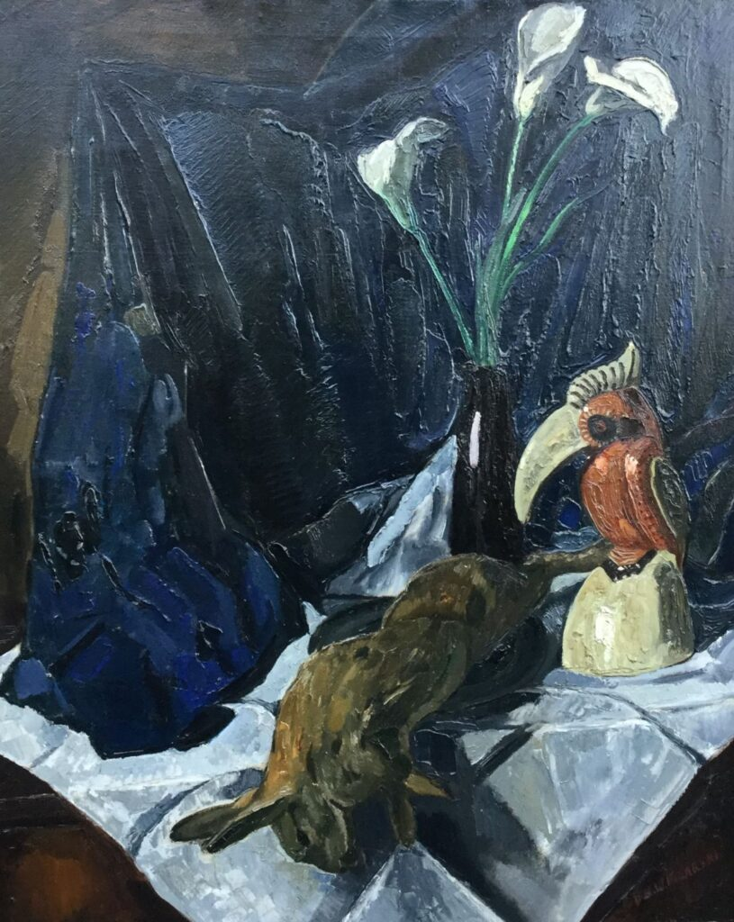 schilderijen te koop van kunstschildDirk Filarski stilleven met dode haas olie op doek, doekmaat 100 x 80 cm rechtsonder gesigneerd, expositie, galerie wijdemeren breukeleveen
