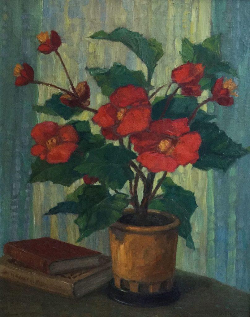 Schilderijen te koop, stilleven met bloemen olie op doek rechtsonder gesigneerd J. Maes kunstschilder, Expositie Galerie Wijdemeren Breukeleveen