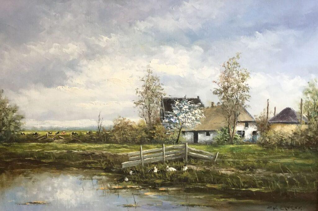 Schilderijen te koop van kunstschilder G.J. Ernens Boerderij in de Lente olie op doek, doekmaat 60.5 x 90.5 cm rechtsonder gesigneerd, Expositie Galerie Wijdemeren Breukeleveen