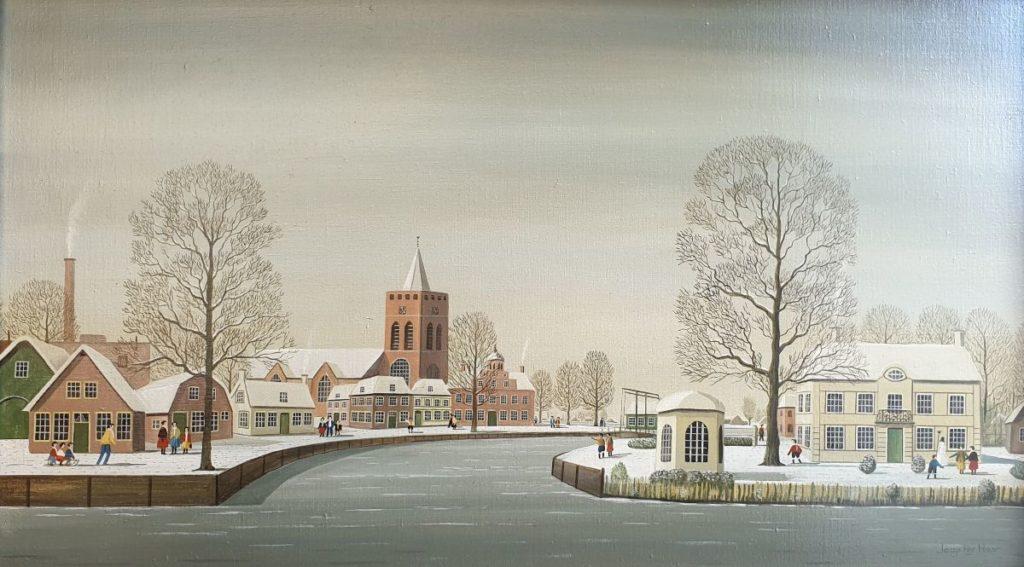 Kunst te koop bij Galerie Wijdemeren van kunstschilder Jaap ter Haar Winter in het dorp olie op doek, 40.5 x 70.5 cm rechtsonder gesigneerd