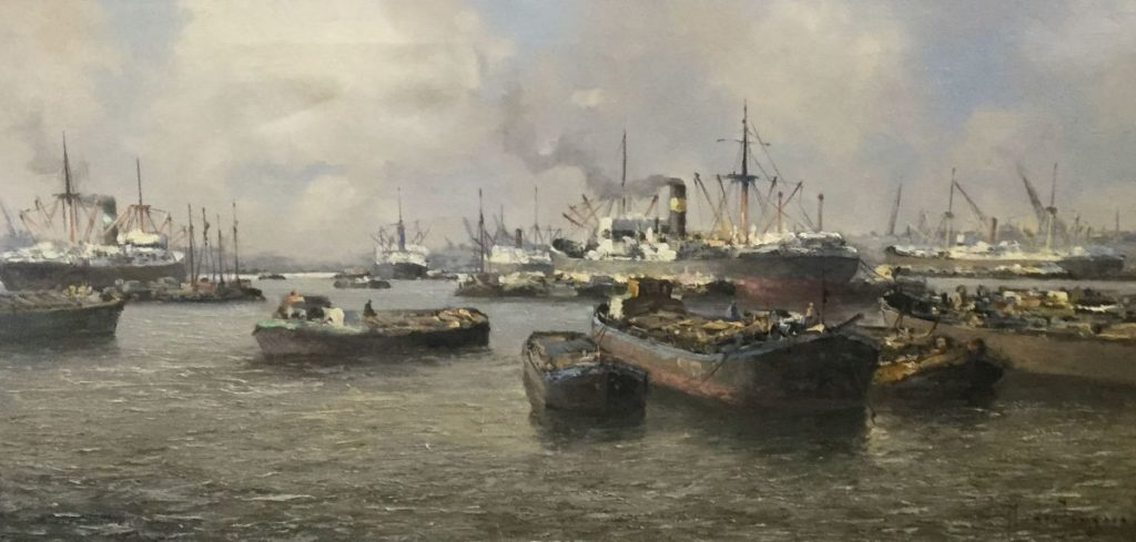 Schilderijen te koop van kunstschilder Marius de Jongere Rotterdams havengezicht olieverf op doek, 40.5 x 80.5 cm rechtsonder gesigneerd, Expositie Galerie Wijdemeren Breukeleveen