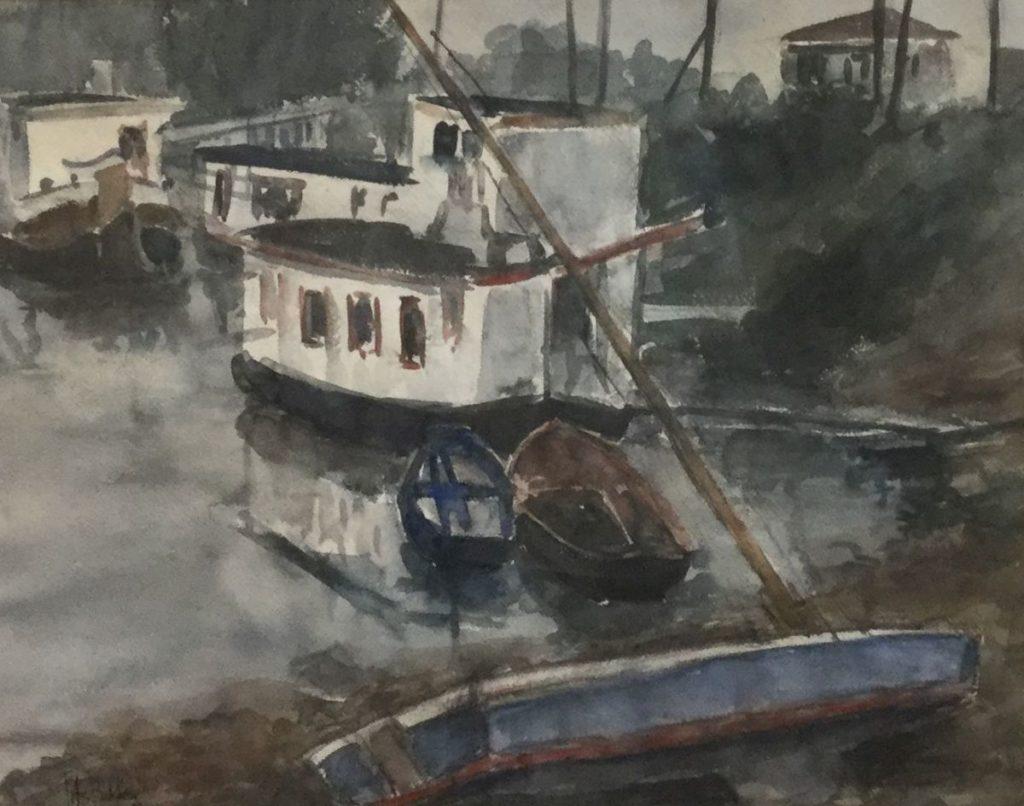 Kunst te koop bij Galerie Wijdemeren van kunstschilder Jits Bakker Boten in de haven aquarel, 47 x 57 cm linksonder gesigneerd