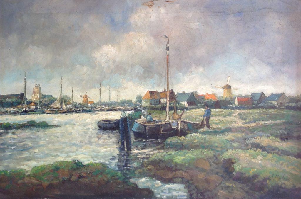 Kunstenaar A. Martens C453, A. Martens Dorpsgezicht met bootje olie op doek, 40 x 60 cm r.o. gesigneerd