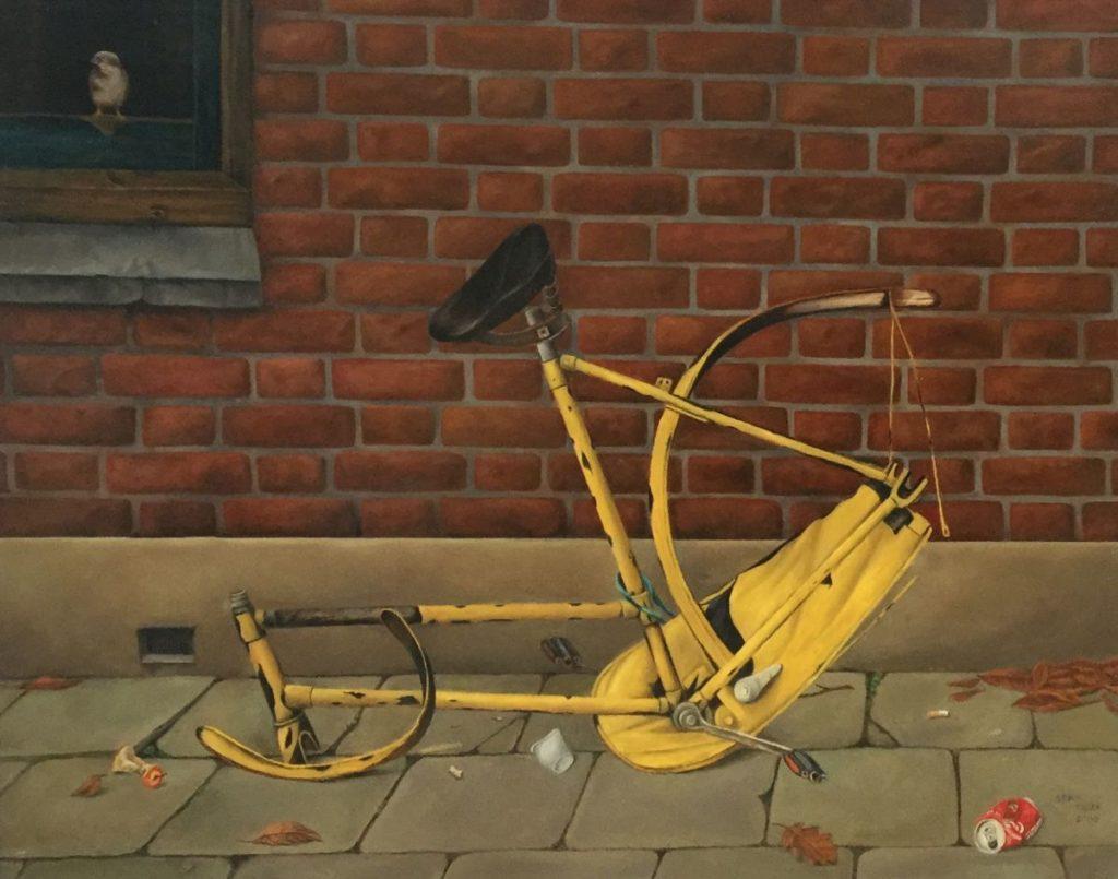 C4560-1 Bram Tielen fietsenstalling, bewaakt Olie op doek, 42 x 51.5 cm r.o. gesigneerd en gedateerd 2000, schilderijen te koop bij galerie wijdemeren breukeleveen, exposities, kunst te koop