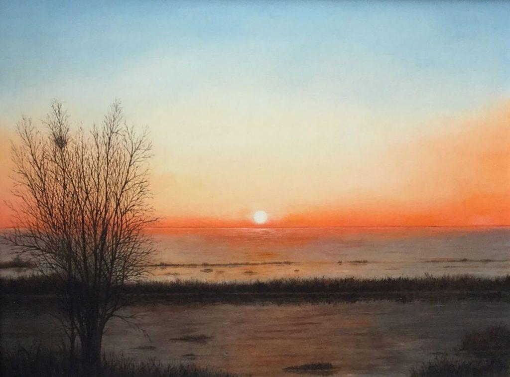 C4560-4 Bram Tielen Zonsopkomst olie op doek, 31 x 40.5 cm rechtsonder gesigneerd en gedateerd 2000, schilderijen te koop bij galerie wijdemeren breukeleveen, kunst te koop, exposities